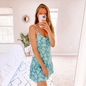 Pink Lily Turquoise Blue Button Down Dress